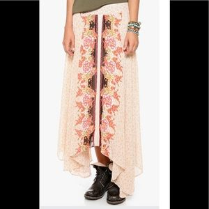 Free People vintage inspired chiffon long skirt XS